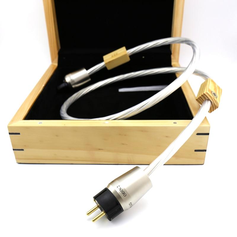 Cable de alimentación de referencia superior de envío gratis Hifi siete Chapado en plata 14AWG 1,5 m Enchufe europeo
