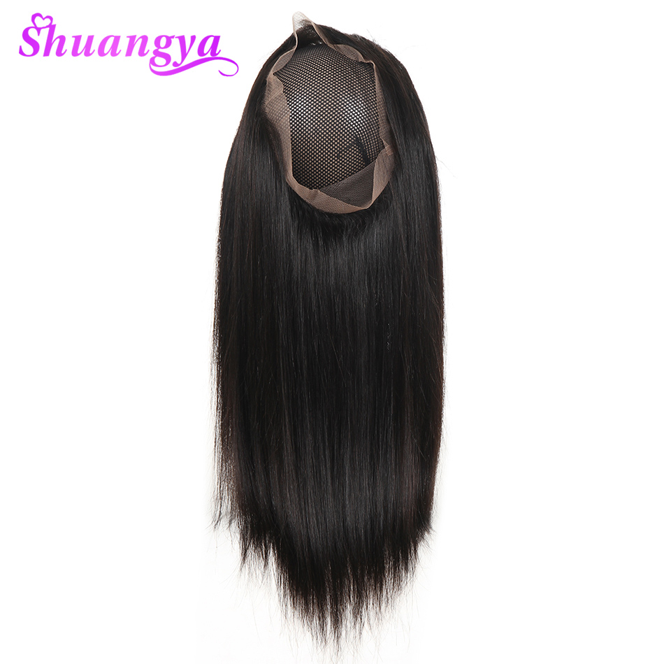 Brazilian Straight Hair 360 Lace Frontal Closure Mediun Brown Free Part 100 Human Hair 120 density