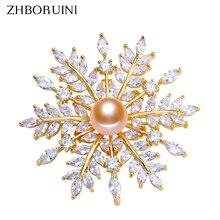 ZHBORUINI 2019 Fine Jewelry New Natural Freshwater Pearl Brooch Creative Snowflake Pins Women Accessories