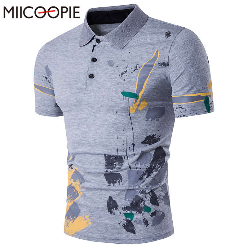 Brand New Casual Men   Polo   Shirt Fashion Flower Print   Polo   Homme Slim Fit Short Sleeve Camisa   Polo   Summer Top Tees Undershirt Men