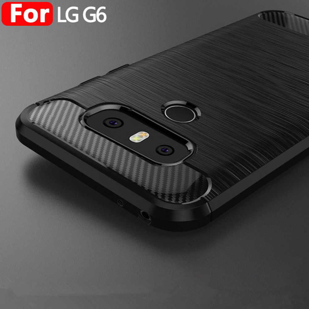 Case For LG G6 Carbon Fiber Brushed Wire Drawing Silicone Cover ...