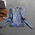 2016 New Autumn And Winter Women Fashion Demin Jacket Long Sleeves Jean Coat With Beading Outwear A2750
