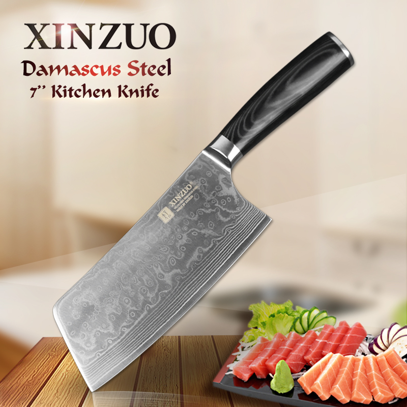 XINZUO 7inch kitchen knife 73 layer Japanese VG10 Damascus vg10 chef knife china woman chef knife