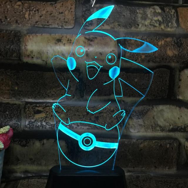 New Pokemon Lamp 3D Pikachu Colors Changing Night Light Halloween Kids Toys Holiday Gifts USB Lamp Pocket Monsters with Cable
