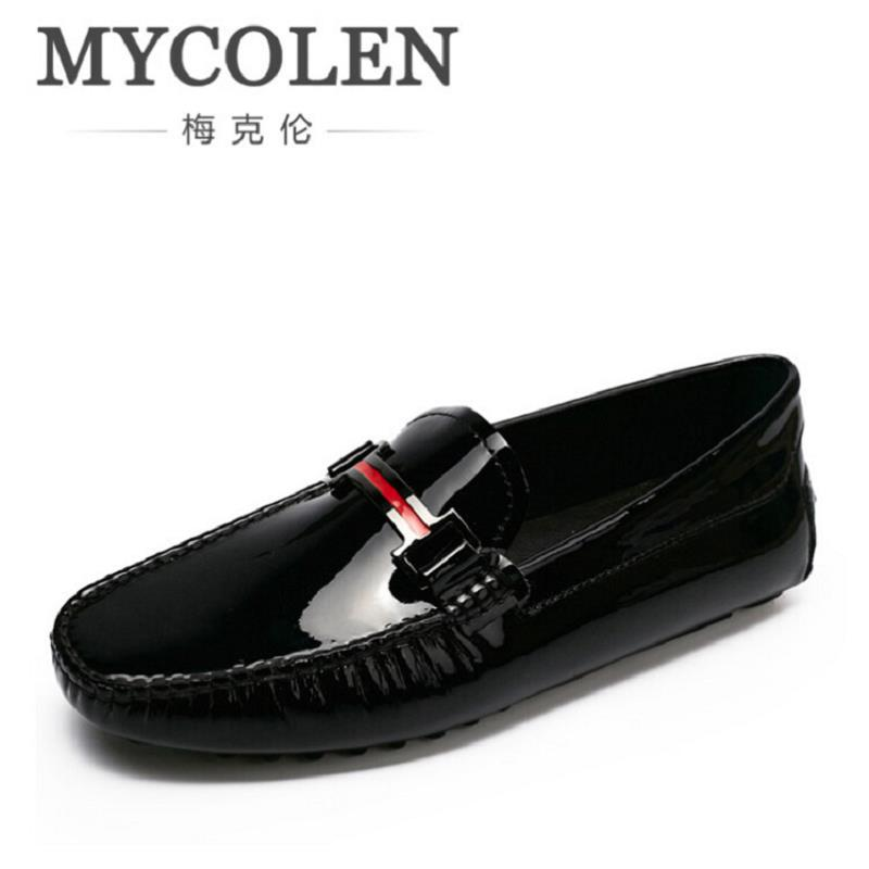 MYCOLEN Mens Loafers Genuine Leather Italian Luxury Crocodile Pattern Autumn Shoes Men Slip On Casual Business Shoes for Male mycolen men loafers leather genuine luxury designer slip on mens shoes black italian brand dress loafers moccasins mens