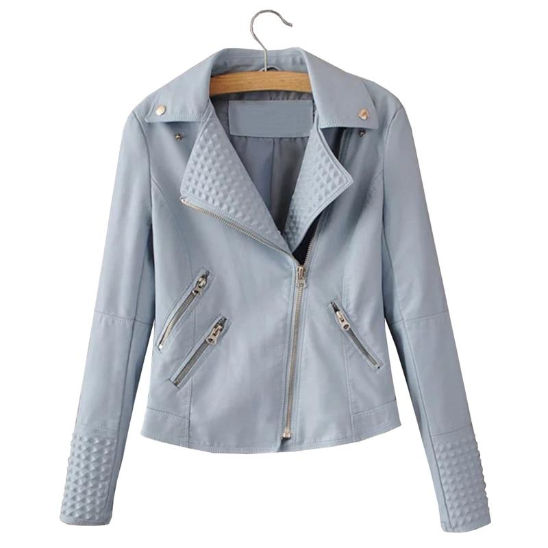 fed437f62 Faux Leather Jacket Women Stud/rivet Moto Biker Zip Coats Chaqueta Blazer  PU Jack Jaqueta Couro Rock Cuir Femme Casaco 2018