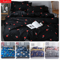Black Red Mushrooms Pattern Kids Soft Cotton Bed Linen 3pcs/4pcs Bedspreads Single Twin Queen King Double Size Duvet Cover 1.8m