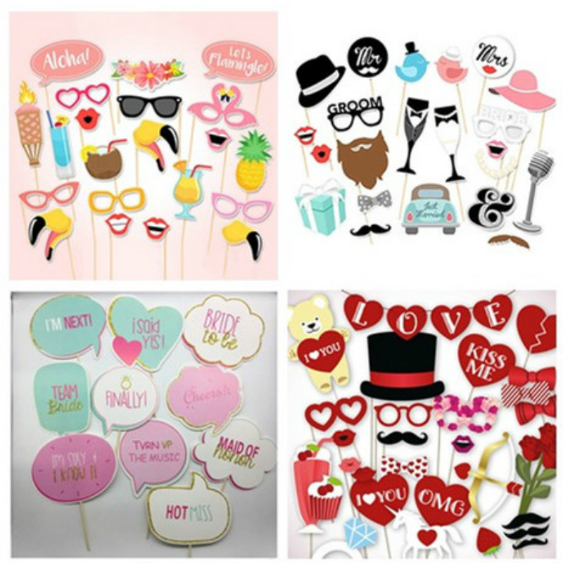 Mr Mrs Just Married Photo Booth Props Wedding Decoration Bridal Shower Bachelorette Party Supplies Bride To Be Photobooth Favors(China)