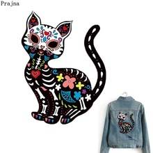 Prajna Cartoon Patch Puss Cat Skull Iron-on Transfer Set Patches Iron On Clothing Applique DIY T-shirt 3D Stickers For Clothes