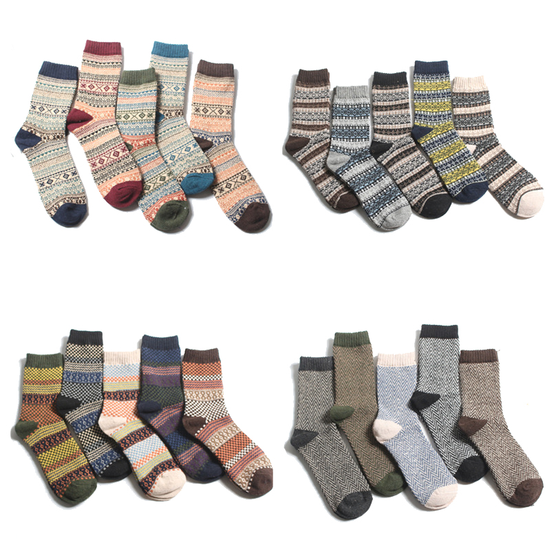 5 Pair/lot Autumn Vintage Ethnic Style Business Man Socks Calcetines Hombre Winter Male Thick Warm Casual Wool Socks