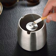 Creative Stainless Steel Smokeless Round Ashtray Round Shape Ashtray Unbreakable Home Gadgets Cigarette Holder
