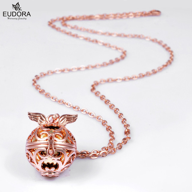 Mexican Bola Pendant Angel Wing Rose Gold Stainless Steel Chain Harmony Bola Baby Caller Chime Ball H159