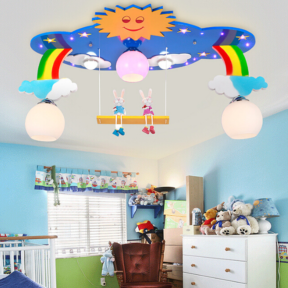 Kids bedroom ceiling lights - 110v 220v E27 Led Kids Ceiling Light Led Wooden Flush Mount Ceiling Light Bedroom Light