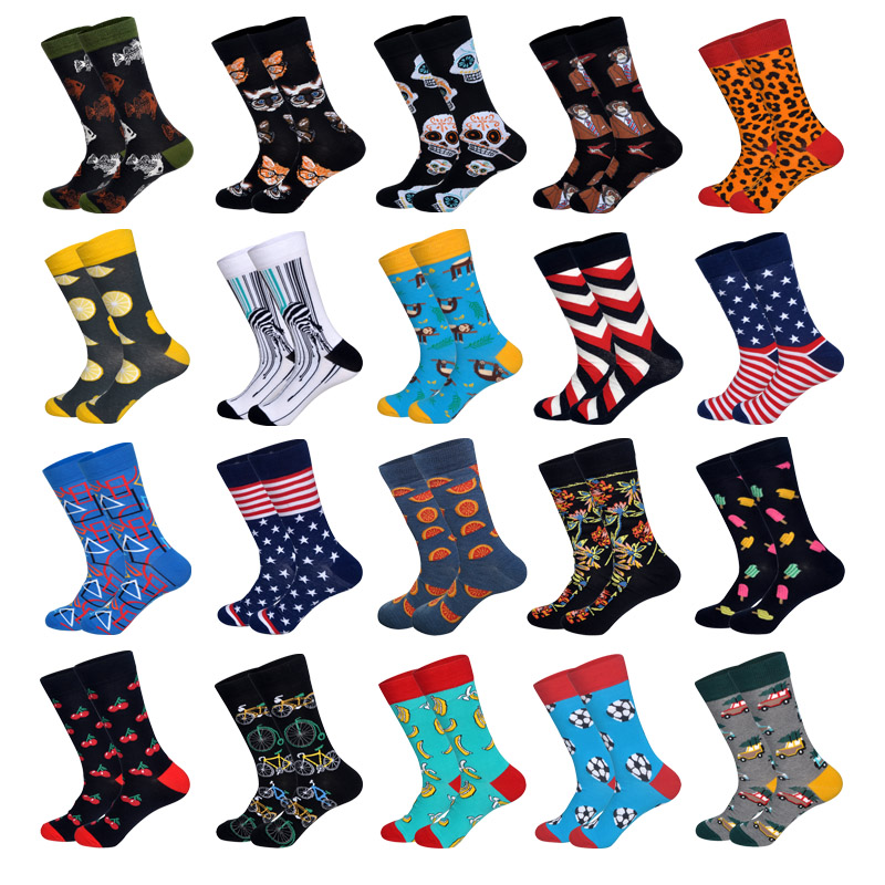 LIONZONE 2019 Newly Novelty Men Happy Socks Monkey Lemon Football Pentagram Fish Cat Skull Apes Pattern Design Cotton Socks