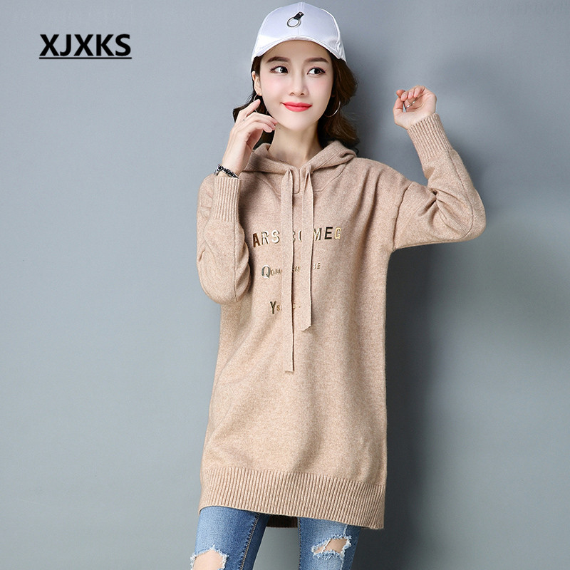 XJXKS Spring Comfortable Women Pullover And Sweaters Fashionable English Letter Hooded Women's Long Sweater