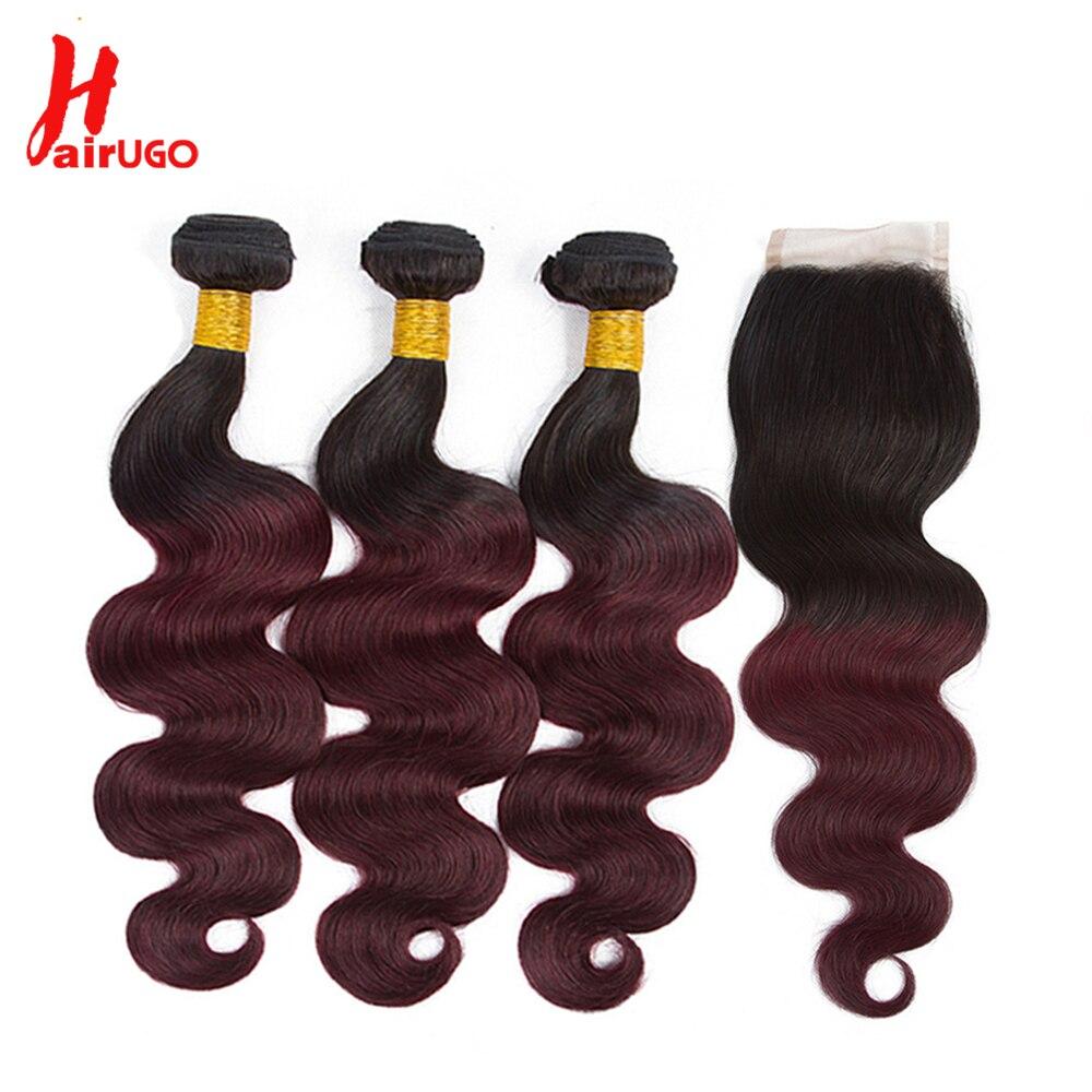 HairUGo Brazilian Body Wave Hair Weave Bundles With Closure Ombre 1B/99J Burgundy Human Hair Bundles With Closure Remy Hair