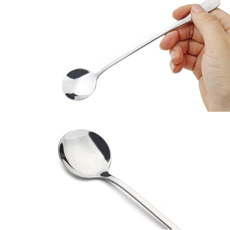Da Da Store Slim Long Handle Mixing Spoon Stainless Steel For Cream Iced Coffee Spoons New 2pcs
