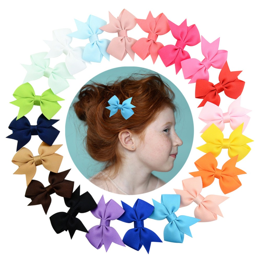 20pcs/sets Kids Colorful Bow Tie Hairpin Girl Headwear Ribbon Bowknot Hair Clip Hair Accessories For Princess Children Barrette