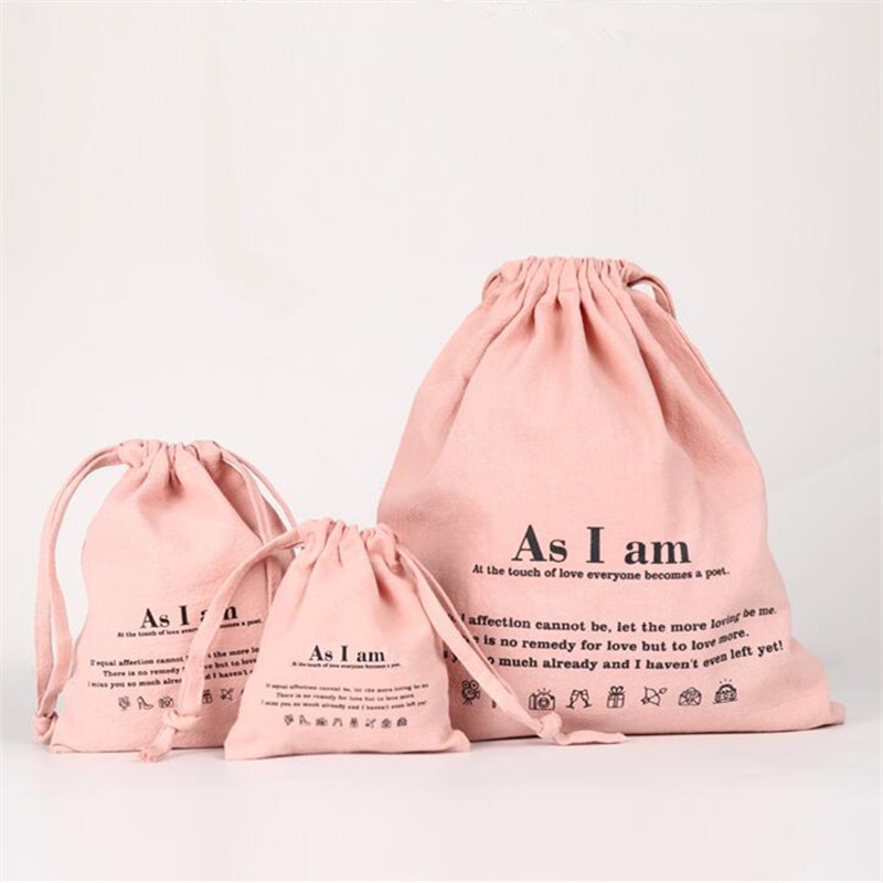 Wholesale Washed Cotton Casual Tote Resuable Cotton Drawstring Bag Food Packing Christmas Bag