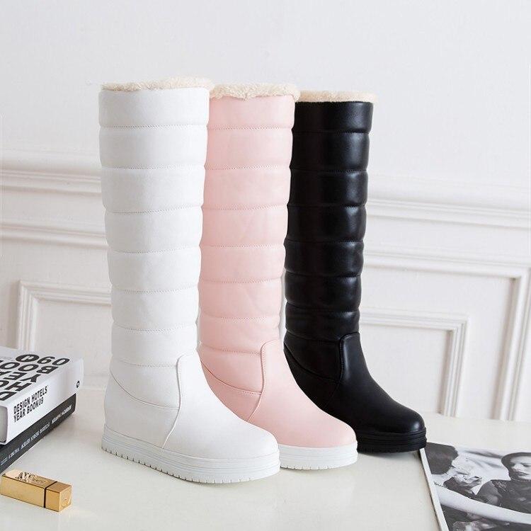 Bottes Cuir Plat En Taille D'hiver Pu Genou Z344 De Neige Femmes Longues Fourrure Plus Chaussures Plate forme rose blanc Noir Haute 2019 43 Effgt wt6IEt