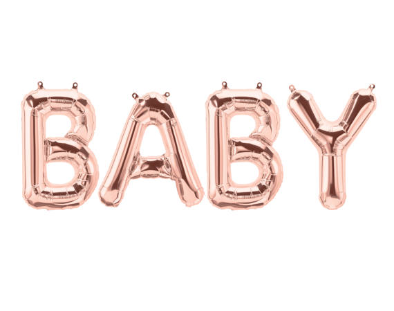rose gold baby balloon banner 16inch letter balloonsbaby shower decor bannerrose gold mylar balloonsgender revea in party diy decorations from home