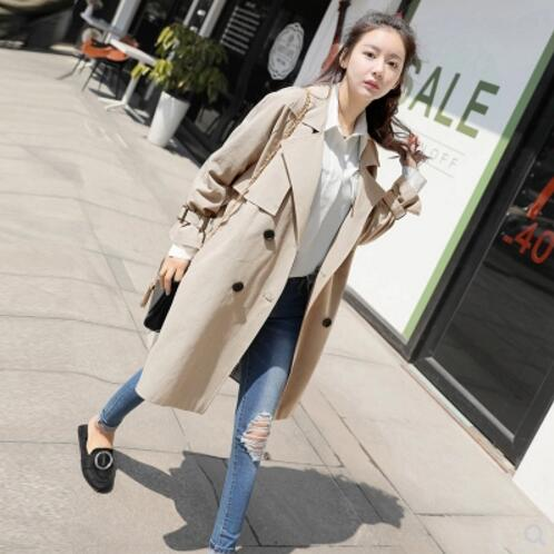 Trench   Coat for Women 2018 Casual Turn-down Collar Solid Color Spring/Autumn Double Breasted Women's Overcoat