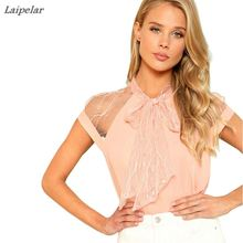 Laipelar Summer Women's Tops Pearl Beading Mesh Lace Stand Collar Pink Shirt Elegant Office Lady Work Wear Blouse 2018 New недорого
