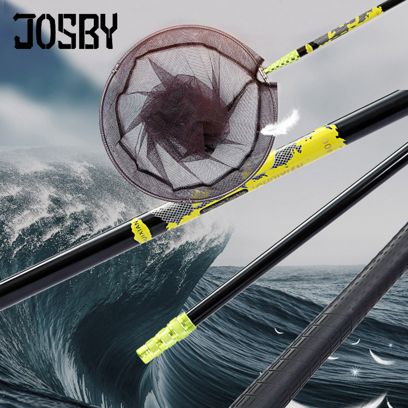 JOSBY Fishing Pole 2 1m 3m ultralight Retractable Telescoping Landing hand Net carbon Pole Foldable