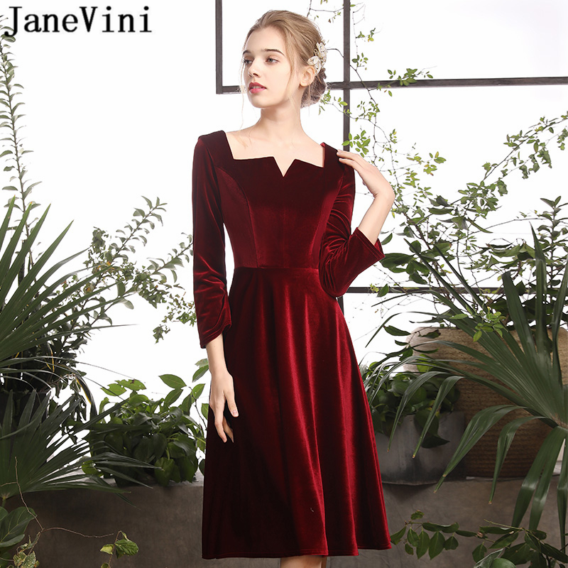 JaneVini Simple Burgundy Short   Cocktail     Dresses   Plus Size 3/4 Long Sleeve A Line Velvet Knee Length   Dress   Backless   Cocktail   Jurk