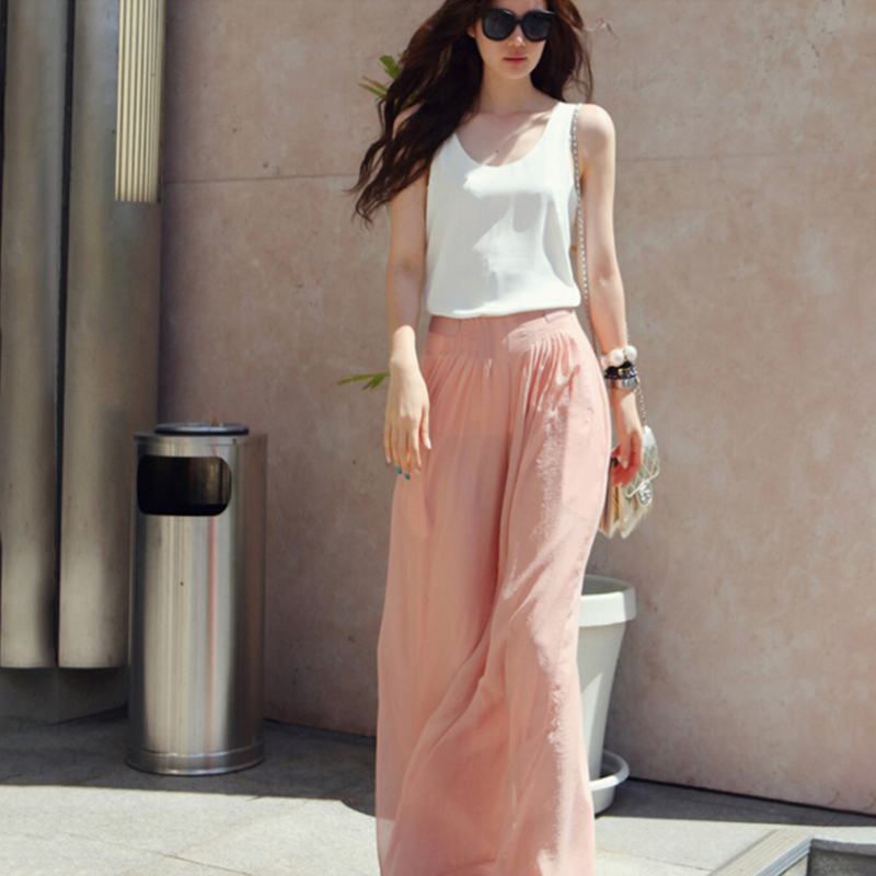 New Fashion Women Chiffon   Pants   Summer   Wide     Leg     Pants   High Waist Long Loose   Pants   Palazzo Culottes Trousers Femme Pantalones