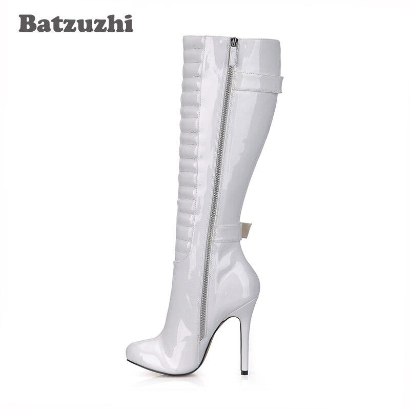 Stiletto Haute Long Genou Pour Taille Noir blanc 3543 Blanc Bottes Partie 12cm Longues En Batzuzhi Hiver rouge Cuir Femmes erdoQBWCx
