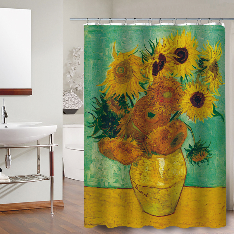 Product Name: FOKUSENT Halloween Shower Curtain Printed Van Gogh Starry  Night Sunflower World Famous Paintings Polyester Fabric Curtains Size:  150cm X 180cm