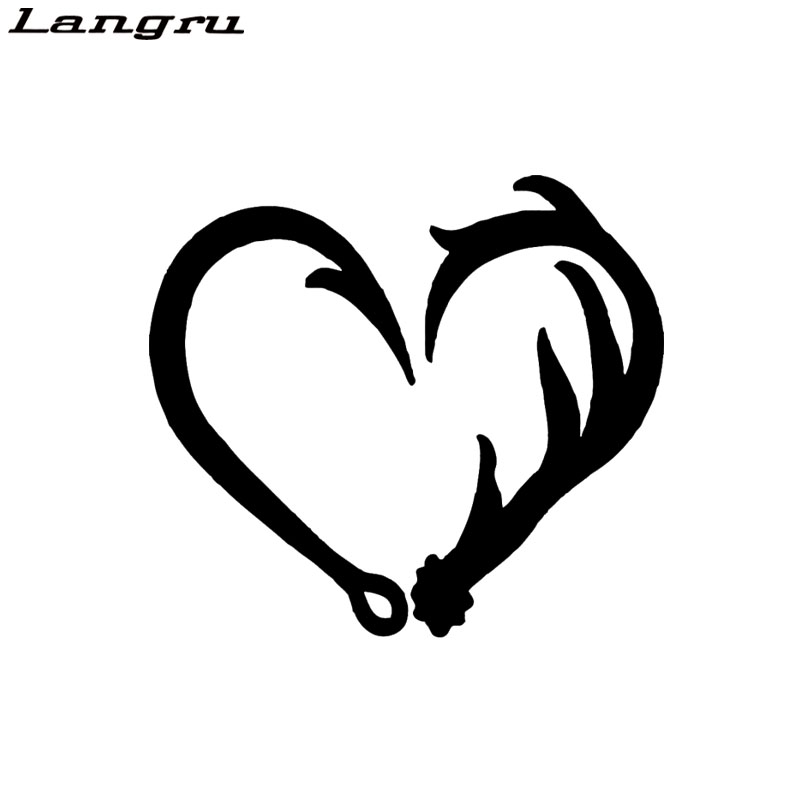 Langru Car Stying Cool Graphics Antler Hook Heart Decal Hunting Fishing Car Truck Sticker Pick
