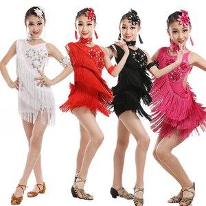 Image 2 - Vestido de competición con borlas y lentejuelas para niños, baile latino, práctica de gimnasia, fiesta de baile, escenario
