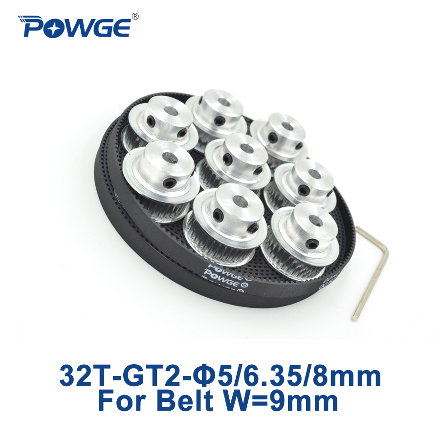 POWGE 8pcs 32 teeth GT2 Timing Pulley Bore 5mm 6.35mm 8mm + 5Meters width 9mm GT2 open Timing Belt 2GT pulley Belt 32Teeth 32T цена 2017