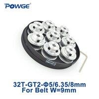 POWGE 8pcs 32 Teeth GT2 Timing Pulley Bore 5 8mm 5Meters Width 9mm GT2 Open Timing