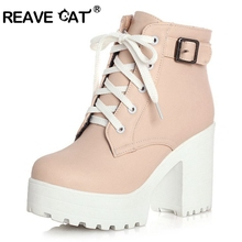 REAVE CAT 3 Color Winter Lace-Up Sexy Women Boots Fashion Platform high square heels Black Buckle Ankle boots Plus Size 34-43(China)