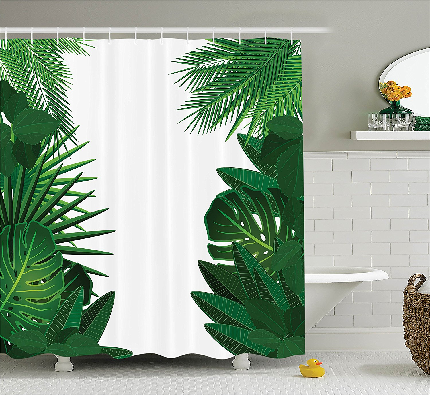 Palm shower curtain - Memory Home Leaves Shower Curtain Hawaiian Tropical Palm Leaves With Stylish Floral Bathroom Accessories Green White