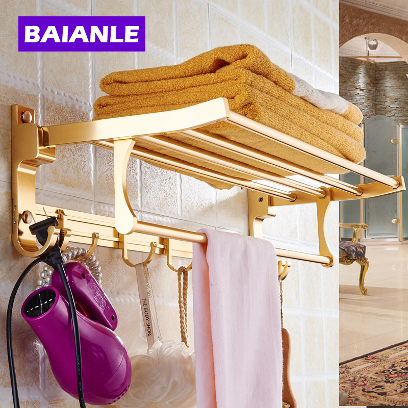 Brief Silver/Golden Towel Rack With Hooks of Space Aluminum Bathroom Accessories Decorative Wall Movable Bath Towel Holder black space aluminum wall mounted foldable bathroom towel rack holders shower towel rack shelf bar with hooks