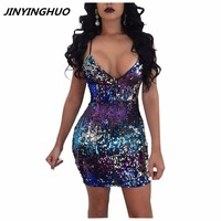 2017New Femmes Soirée Parti Robes Dos Nu Dentelle Up Paillettes Robe Sexy Night Club Wear Court Crayon Sexy Robe T031