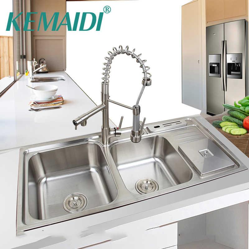 kemaidi 920mmx450mm stainless steel kitchen sink vessel set with faucet double sinks kitchen sink kitchen washing vanity