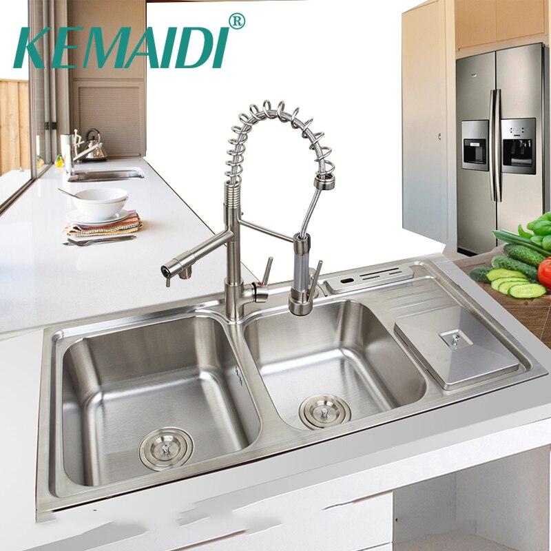 KEMAIDI 920mm x 450mm en acier inoxydable cuisine évier navire ensemble avec robinet Double éviers cuisine évier cuisine lavage vanité