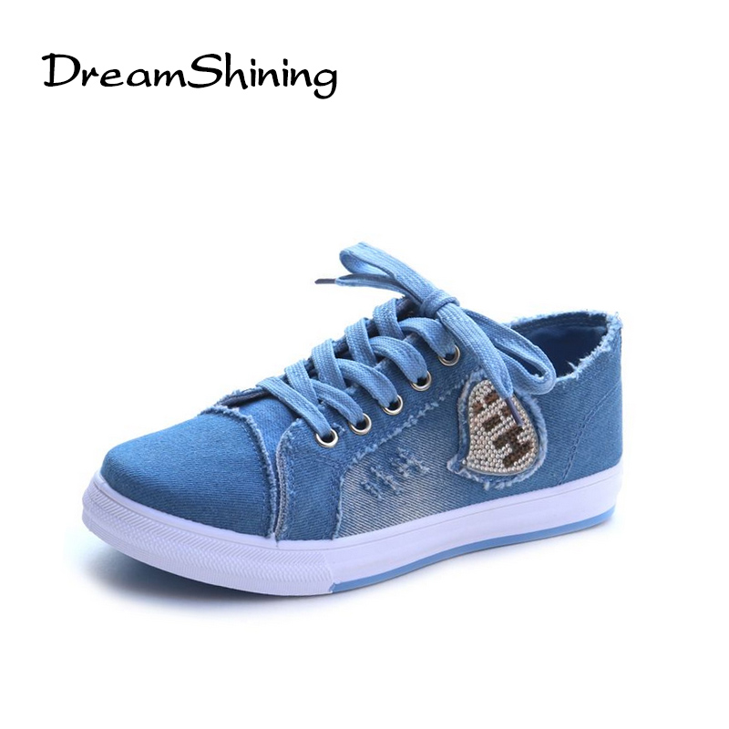 все цены на DreamShining Women's Shoes Denim Breathable Students Canvas Shoes Female Version Of The Pure Color Plate Shoes онлайн