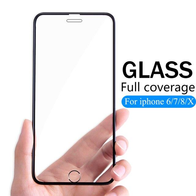 3D Full Cover Có Kính Cường Lực Dành Cho iPhone 6 6 S 7 8 Plus Kính X Ba Lô Flim iPhone XS Max XR tấm Bảo Vệ Màn Hình Kính Cường Lực Trên IPhone7