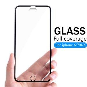 Image 1 - 3D Volledige Cover Beschermende Glas Voor Iphone 6 6 S 7 8 Plus X Glas Flim Iphone Xs Max Xr screen Protector Gehard Glas Op IPhone7