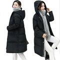 Mulheres para baixo casaco plus size XXXL inverno quente longo das mulheres para baixo jaqueta grossa 90% algodão com chapéu Parka Casaco Feminino de alta qualidade