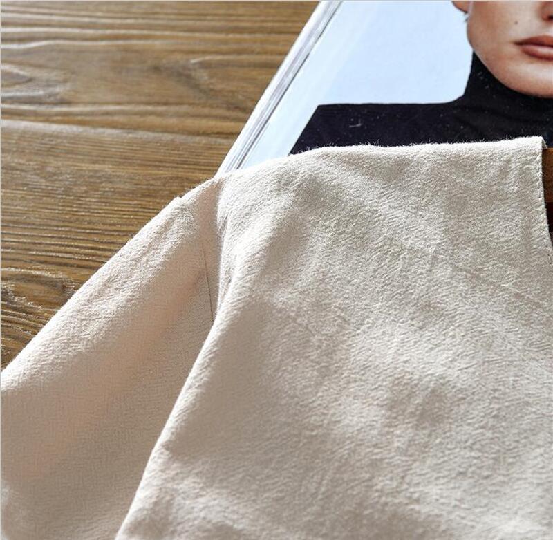 Tunique chinoise beige en lin et coton, gros plan