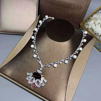 925 Sterling Silver Brand Jewelry Pearl Evening Necklace Female Luxury Flower Short Necklace 48cm