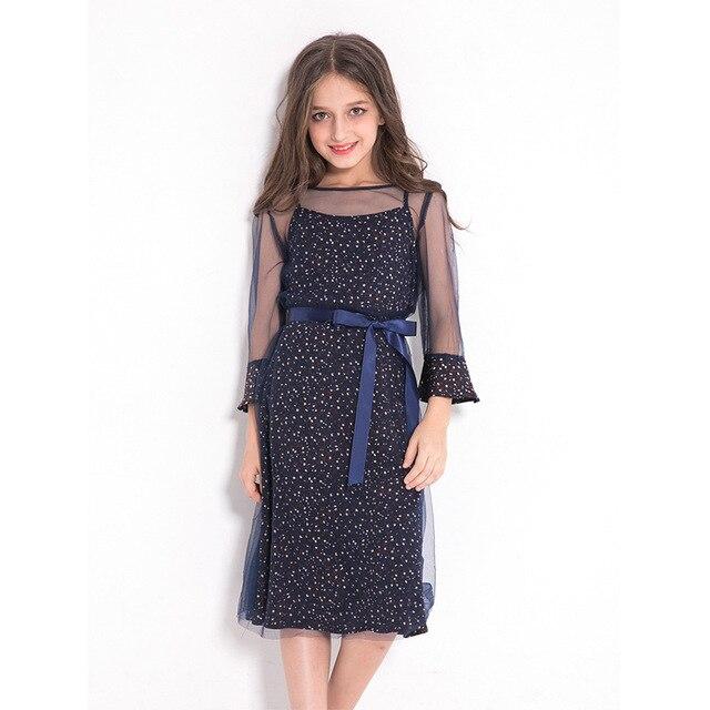 60f31bb39888 Big Girls Mesh Dot Dresses 2018 Summer Sequins Party Kids Costume Teens  Children Long Sleeves Bowknot Elegant Girls Dress 5-12T