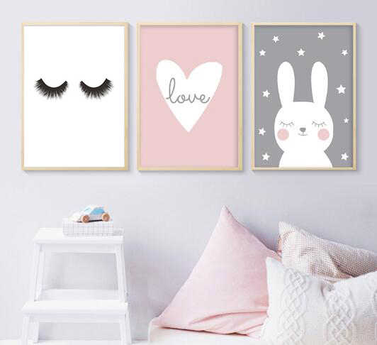 Rabbit Heart Nursery Wall Art Canvas Painting Cartoon Posters and Prints Decorative Picture Nordic Style Kids Decoration